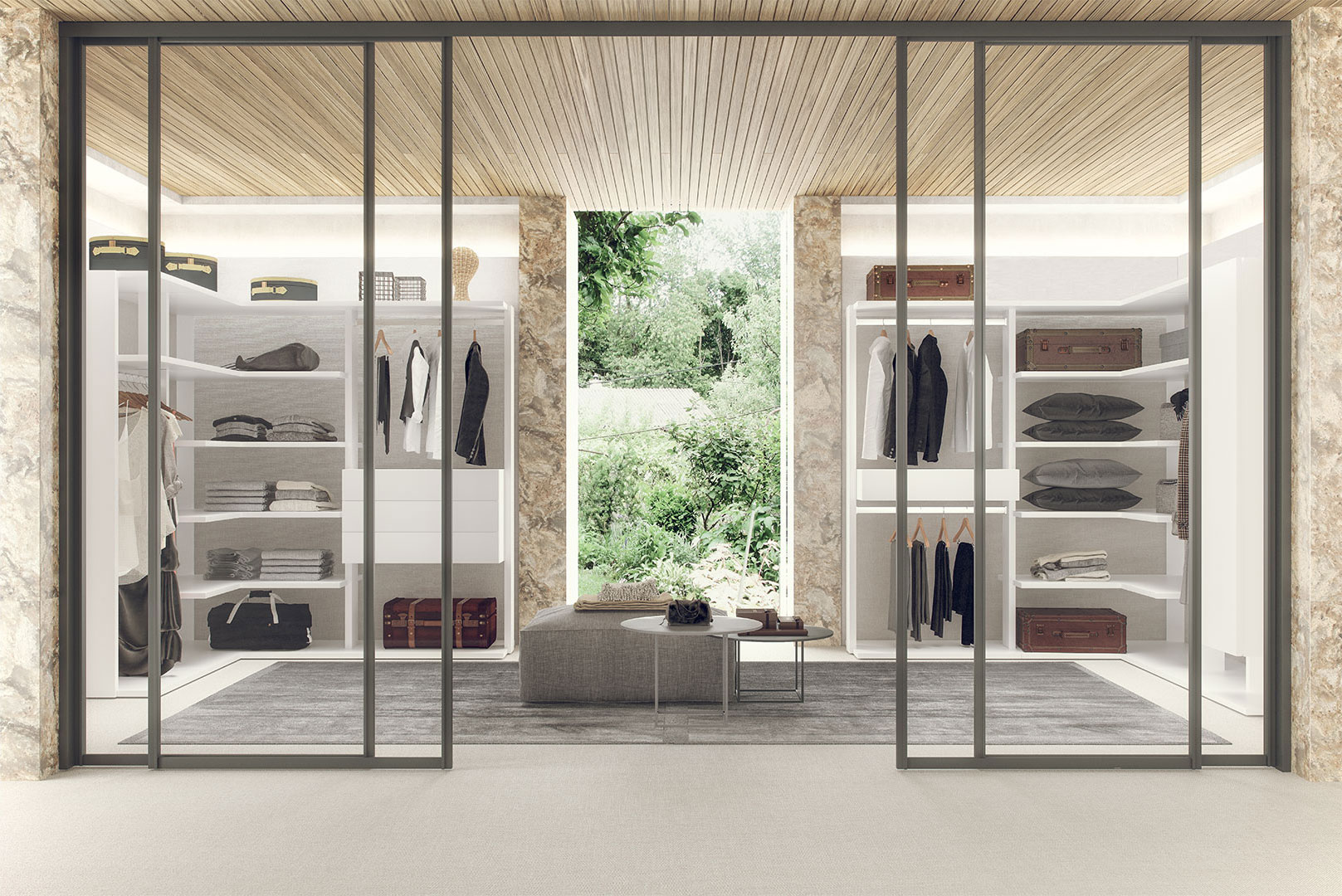 armario puertas batientes lacado gris - Vestidores