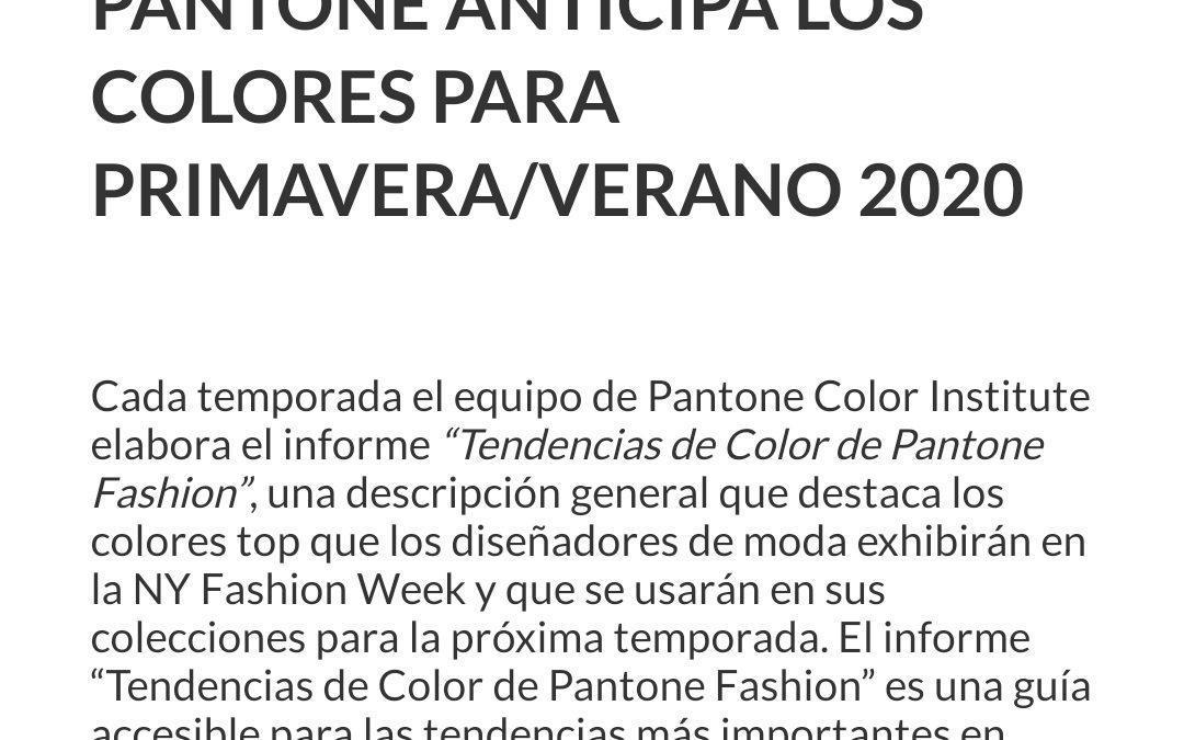 Pantones primavera-verano 2020